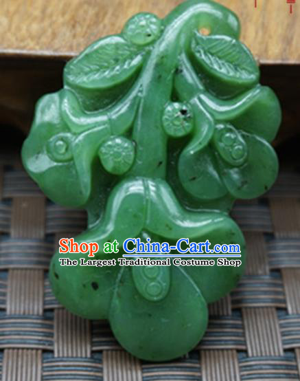 Chinese Handmade Jade Craft Carving Jewelry Accessories Green Jade Necklace Pendant
