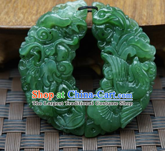 Chinese Handmade Carving Jade Craft Jewelry Accessories Traditional Dragon Phoenix Jade Pendant