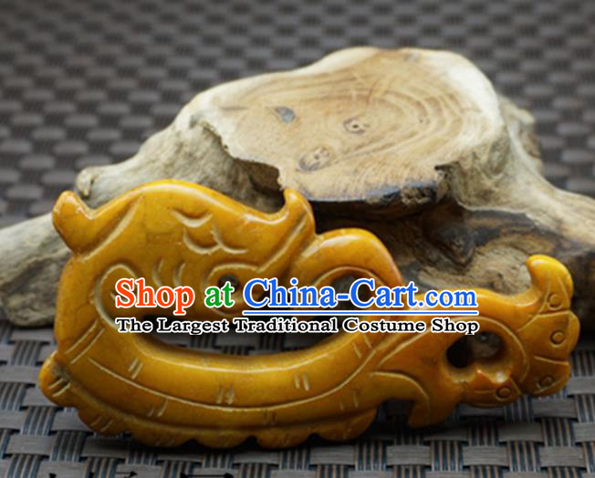 Chinese Handmade Carving Jade Craft Jewelry Accessories Traditional Dragon Yellow Jade Pendant