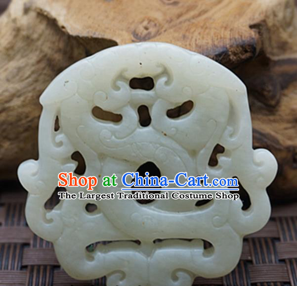 Chinese Handmade Jade Craft Jewelry Accessories Traditional Carving Dragon Jade Pendant