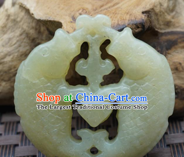 Chinese Handmade Jade Craft Jewelry Accessories Traditional Carving Double Fishes Jade Pendant