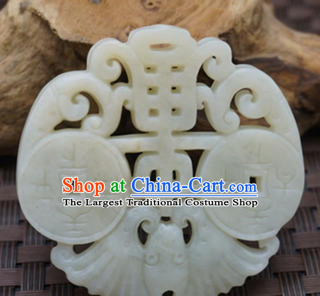 Chinese Handmade Jade Craft Jewelry Accessories Traditional Carving Bat Jade Pendant