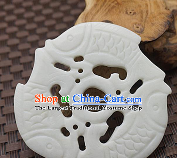Chinese Handmade Jade Craft Jewelry Accessories Traditional Carving Carps Jade Pendant