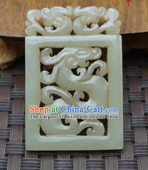 Chinese Handmade Carving Dragon Jade Pendant Traditional Jade Craft Jewelry Accessories