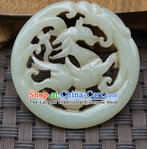 Chinese Handmade Carving Horse Jade Pendant Traditional Jade Craft Jewelry Accessories