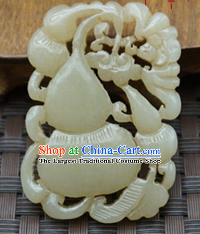 Chinese Handmade Carving Cucurbit Jade Pendant Traditional Jade Craft Jewelry Accessories