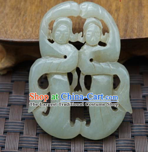 Chinese Handmade Carving Peri Jade Pendant Traditional Jade Craft Jewelry Accessories