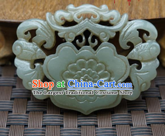 Chinese Handmade Carving Bats Jade Pendant Traditional Jade Craft Jewelry Accessories