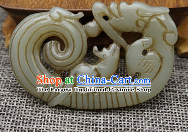 Chinese Handmade Carving Rat Jade Pendant Traditional Jade Craft Jewelry Accessories