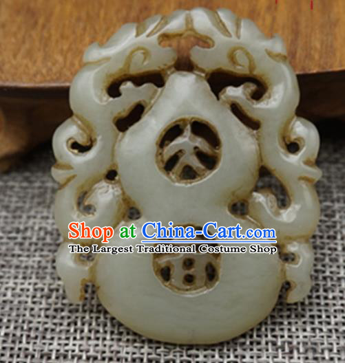 Chinese Handmade Carving Calabash Jade Pendant Traditional Jade Craft Jewelry Accessories