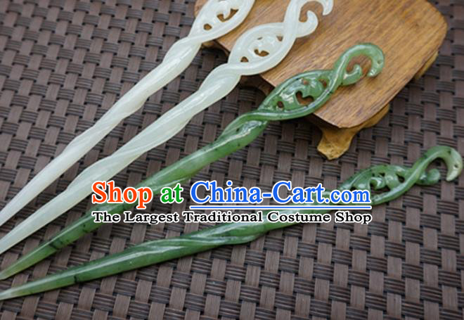 Chinese Handmade Jade Snake Hairpins Carving Jade Hair Accessories for Women for Men