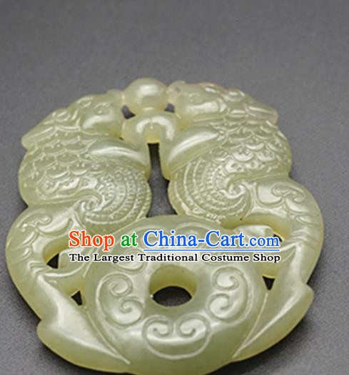 Chinese Handmade Carving Dragons Jade Pendant Traditional Jade Craft Jewelry Accessories