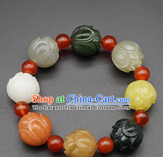 Chinese Handmade Jade Bracelet Carving Lotus Jade Jewelry Accessories Bangle for Women for Men