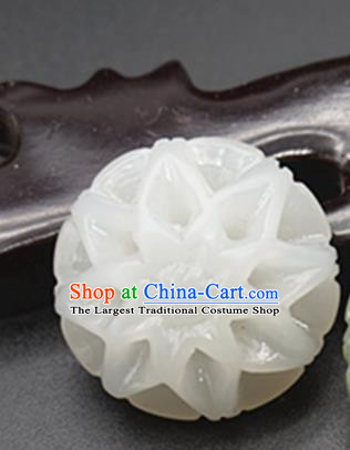 Chinese Handmade Carving Peony White Jade Pendant Traditional Jade Craft Jewelry Accessories