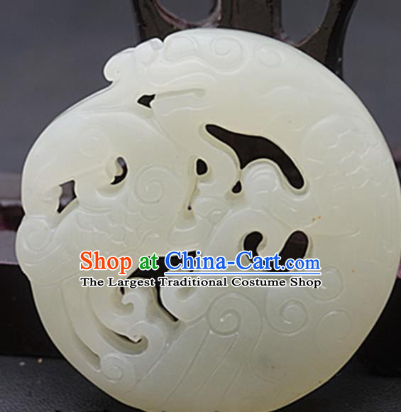 Chinese Handmade Carving Dragon White Jade Pendant Traditional Jade Craft Jewelry Accessories