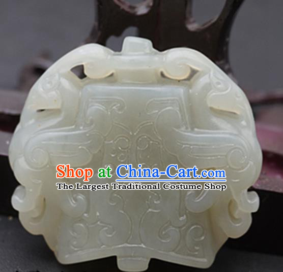 Chinese Handmade Carving Phoenix White Jade Pendant Traditional Jade Craft Jewelry Accessories