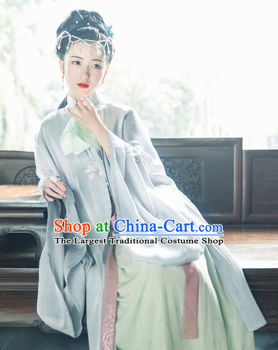 Asian Chinese Ancient Dowager Embroidered Hanfu Dress Traditional Ming Dynasty Young Mistress Historical Costume for Women