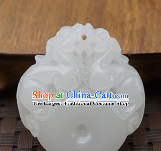 Handmade Chinese Ancient White Jade Carving Pendant Traditional Jade Craft Jewelry Decoration Accessories
