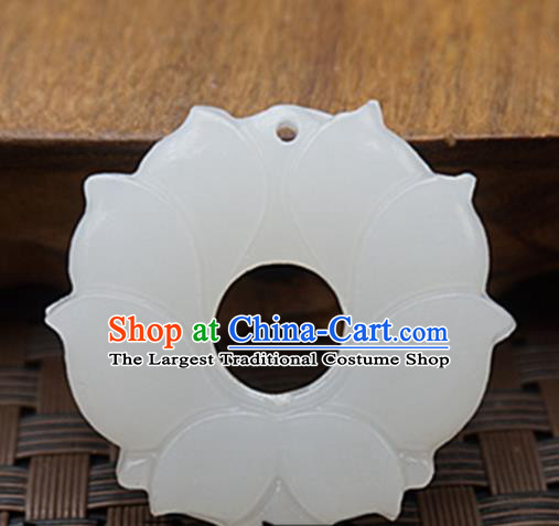 Handmade Chinese Ancient White Jade Carving Lotus Pendant Traditional Jade Craft Jewelry Decoration Accessories