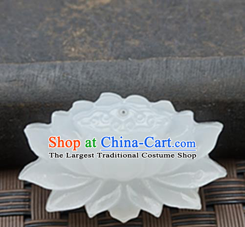 Handmade Chinese Ancient White Jade Lotus Carving Pendant Traditional Jade Craft Jewelry Decoration Accessories