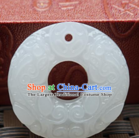 Handmade Chinese Ancient White Jade Carving Pi Xiu Pendant Traditional Jade Craft Jewelry Decoration Accessories