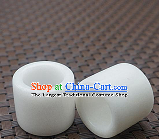 Chinese Handmade Ancient White Jade Rings Traditional Jade Thimble Jewelry Accessories for Women for Men