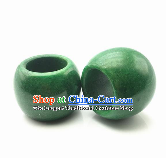 Chinese Handmade Ancient Green Jade Rings Traditional Jade Thimble Jewelry Accessories for Women for Men