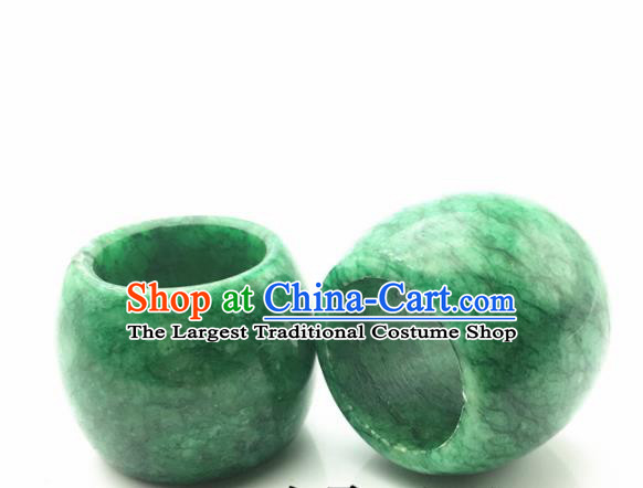 Chinese Handmade Ancient Jade Rings Traditional Green Jade Thimble Jewelry Accessories for Women for Men