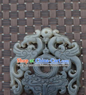 Chinese Handmade Jewelry Accessories Carving Phoenix Jade Pendant Ancient Traditional Jade Craft Decoration