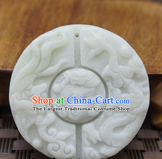 Chinese Handmade Jewelry Accessories Carving White Jade Pendant Ancient Traditional Jade Craft Decoration