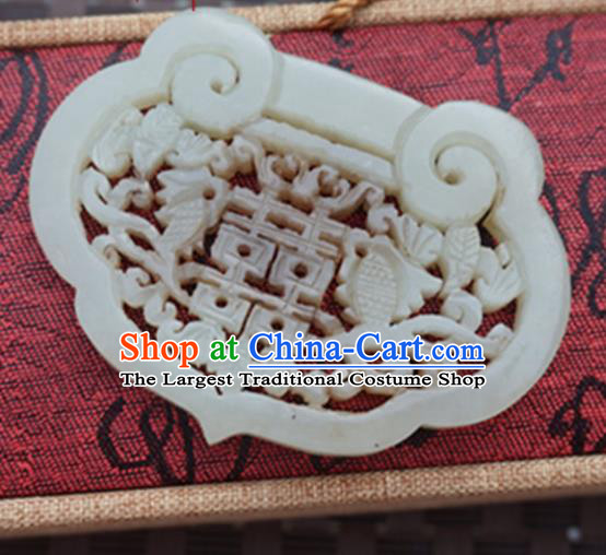 Chinese Handmade Jewelry Accessories Carving Longevity Lock Jade Pendant Ancient Traditional Jade Craft Decoration