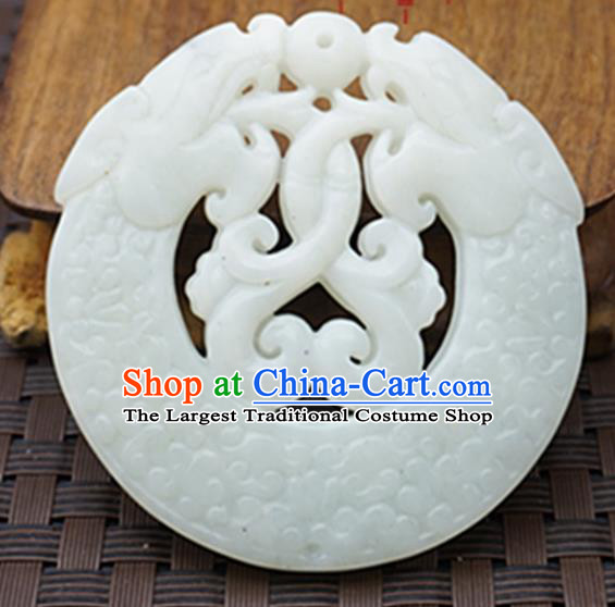Chinese Handmade Jewelry Accessories Carving Dragon Longevity Lock Jade Pendant Ancient Traditional Jade Craft Decoration