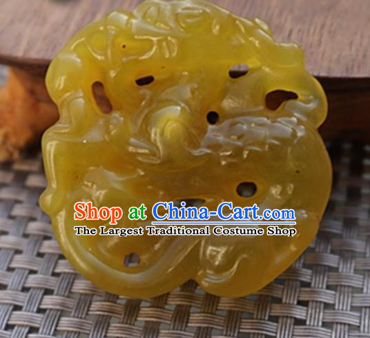 Chinese Handmade Jewelry Accessories Carving Dragon Yellow Jade Pendant Ancient Traditional Jade Craft Decoration