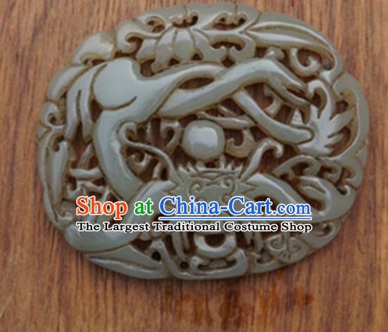 Chinese Handmade Jewelry Accessories Carving Jade Pendant Ancient Traditional Jade Craft Decoration