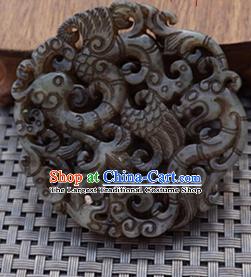 Chinese Handmade Jewelry Accessories Carving Dragon Phoenix Jade Pendant Ancient Traditional Jade Craft Decoration