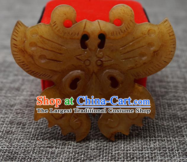Chinese Handmade Jewelry Accessories Carving Butterfly Jade Pendant Ancient Traditional Jade Craft Decoration