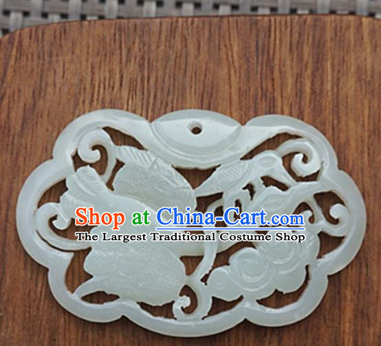 Chinese Handmade Jewelry Accessories Carving Crane Jade Pendant Ancient Traditional Jade Craft Decoration