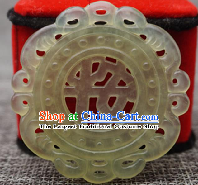 Chinese Handmade Jewelry Accessories Carving Hazelin Jade Pendant Ancient Traditional Jade Craft Decoration