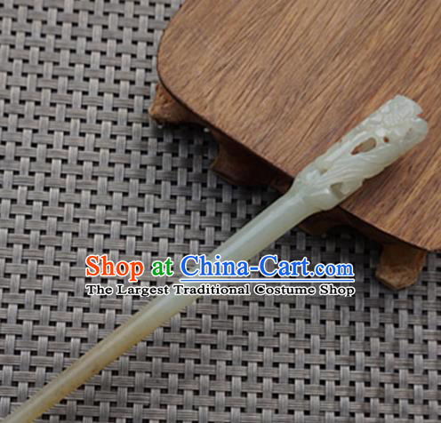 Chinese Handmade Jade Carving Hair Clip Ancient Jade Hairpins Hair Accessories for Women for Men