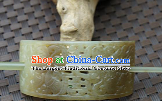 Chinese Handmade Jade Carving Hairdo Crown Ancient Jade Hairpins Hair Accessories for Women for Men