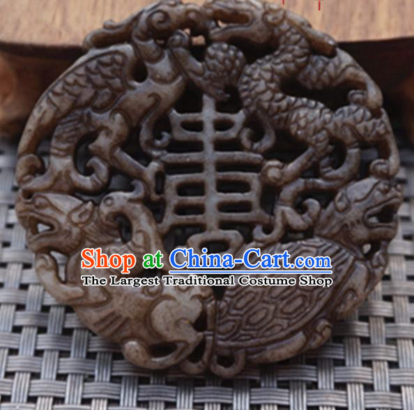 Chinese Handmade Jewelry Accessories Carving Dragon Turtle Jade Pendant Ancient Traditional Jade Craft Decoration