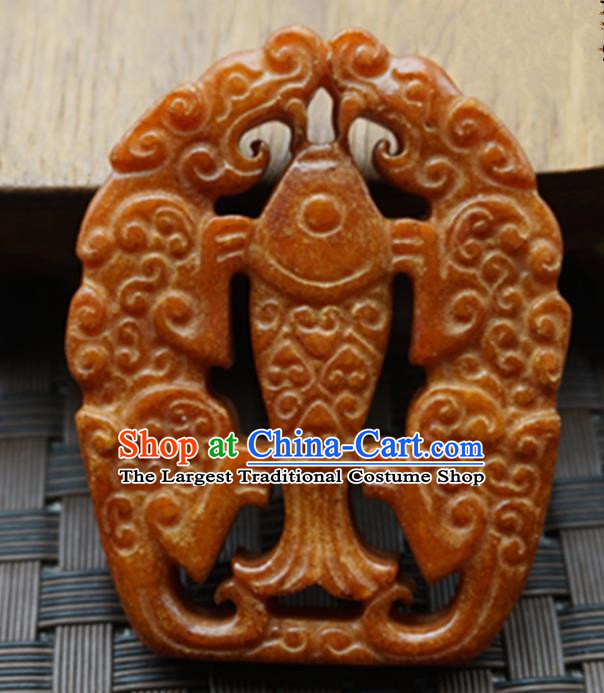 Chinese Handmade Jewelry Accessories Carving Fish Jade Pendant Ancient Traditional Jade Craft Decoration