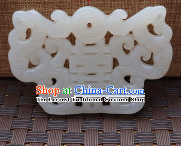 Chinese Handmade Jewelry Accessories Wedding Carving White Jade Pendant Ancient Traditional Jade Craft Decoration