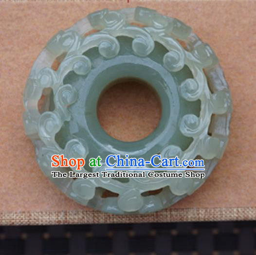 Chinese Handmade Jewelry Accessories Carving Ring Jade Pendant Ancient Traditional Jade Craft Decoration