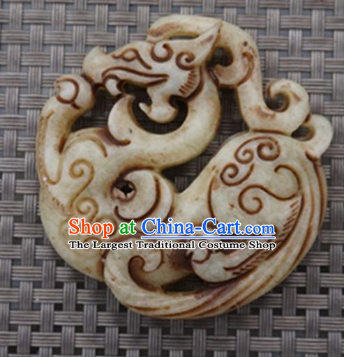 Chinese Handmade Jewelry Accessories Carving Dragon Retro Jade Pendant Ancient Traditional Jade Craft Decoration