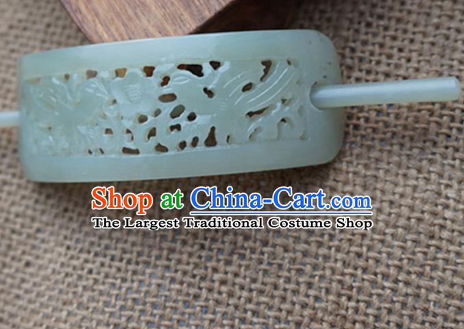 Chinese Handmade Jade Carving Bird Hairdo Crown Ancient Jade Hairpins Hair Accessories for Women for Men