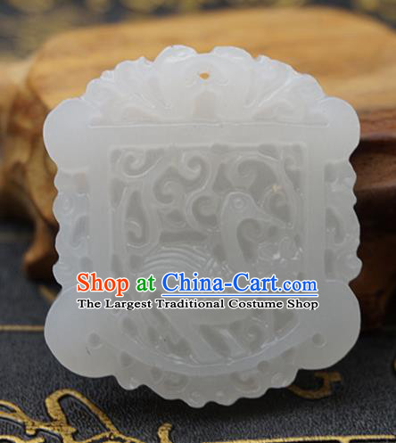 Chinese Handmade Carving Crane White Jade Pendant Jewelry Accessories Ancient Traditional Jade Craft Decoration