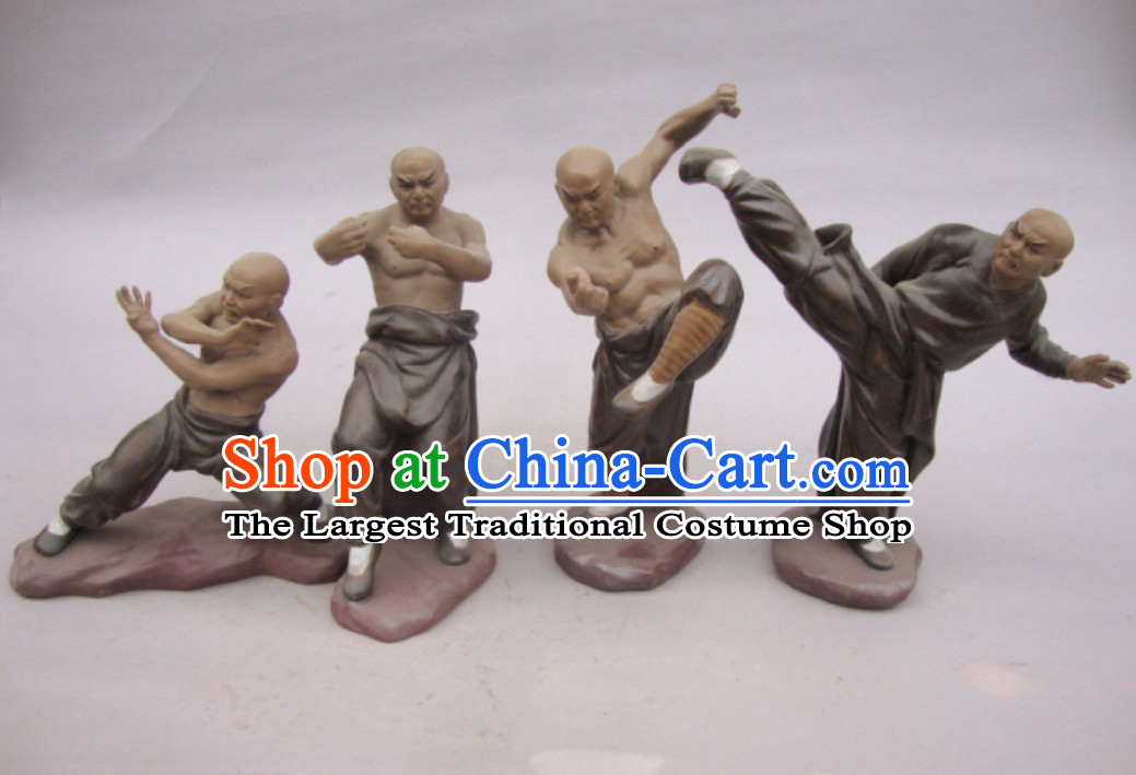 Chinese Ceramic Figurines Four Statues Kung Fu Shao Lin Masters 4 Characters Set