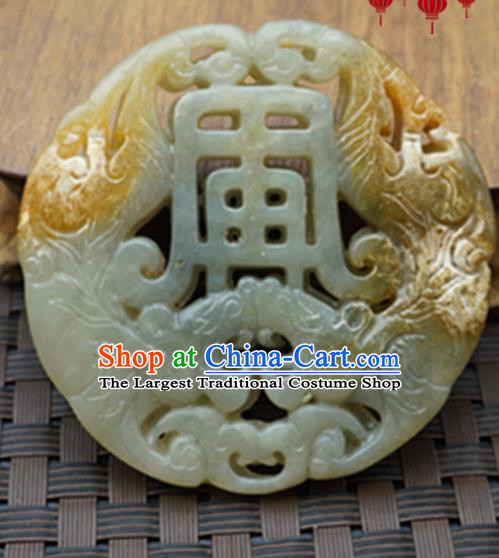 Chinese Handmade Jewelry Accessories Carving Tigers Jade Pendant Ancient Traditional Jade Craft Decoration