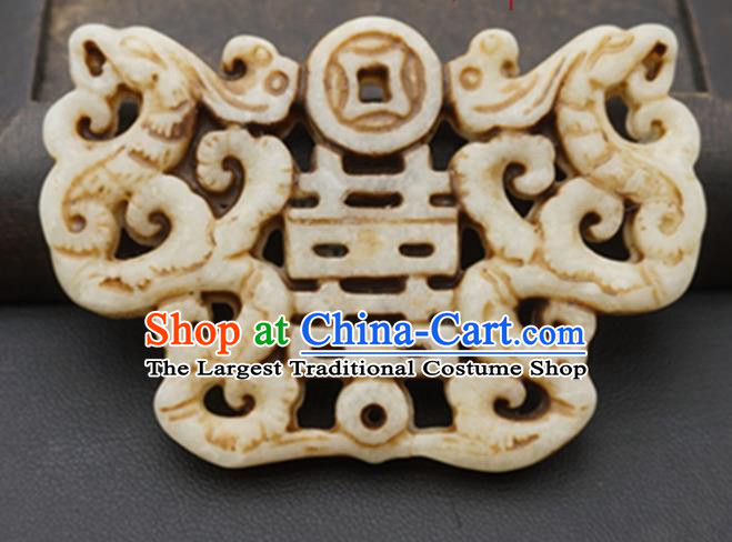 Chinese Handmade Carving Dragon Phoenix Jade Pendant Jewelry Accessories Ancient Traditional Jade Craft Decoration